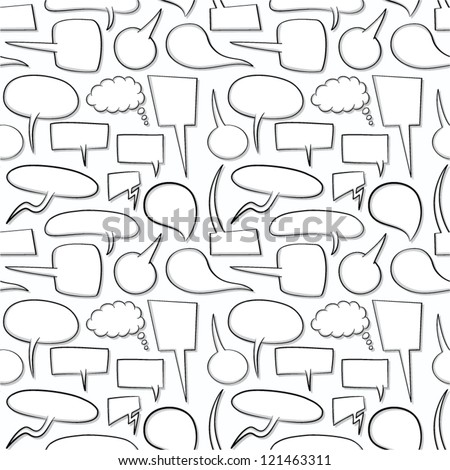 Doodle speech bubbles seamless pattern. - stock vector