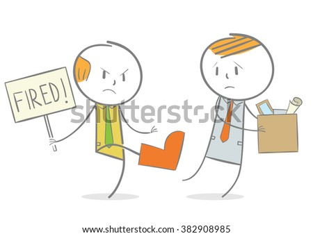 Doodle stick figure: A boss kicking his employee carrying box  - stock vector