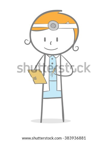 Doodle stick figure: A doctor checking her patient data - stock vector
