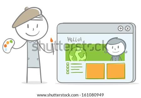 Doodle stick figure:Artist Designing a website - stock vector