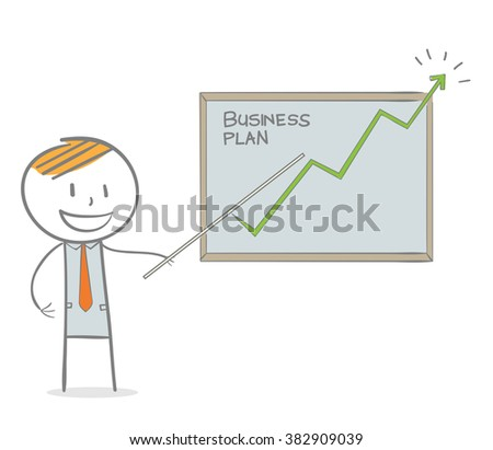 Doodle stick figure: Business man showing a growing graph - stock vector