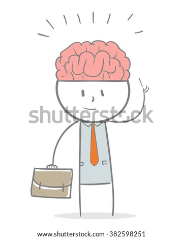 Doodle stick figure: Business man with big brain, a genius business man metaphor - stock vector