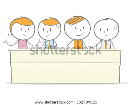Doodle stick figure: Business people meeting in discussion - stock vector