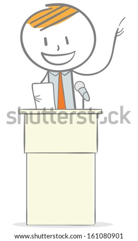 Doodle stick figure: Businessman giving a speech on podium - stock vector