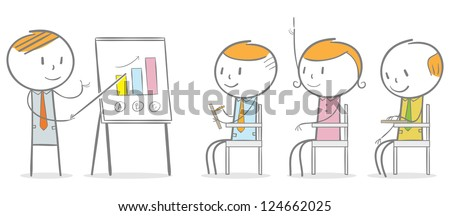 Doodle stick figure: Businessman giving an instruction to employee