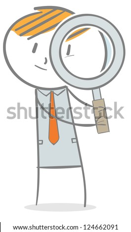 Doodle stick figure: Businessman looking through magnifying glass - stock vector