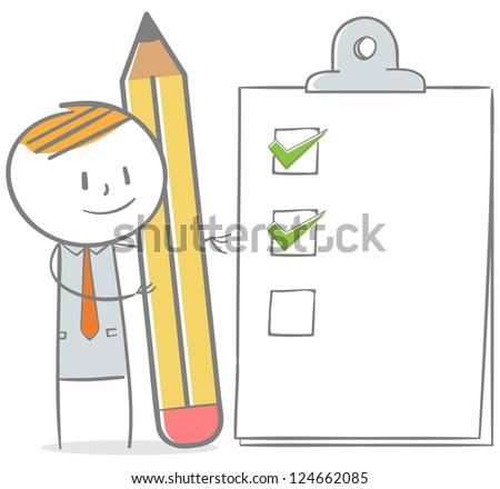 Doodle stick figure: Businessman with checklist clipboard - stock vector
