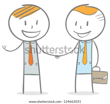 Doodle stick figure:  businessmen handshake - stock vector