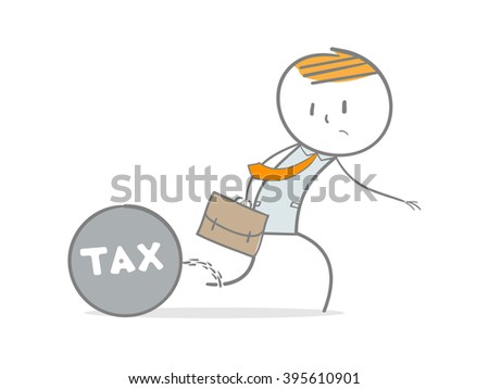 Doodle stick figure dragging a tax metal ball and chain  - stock vector