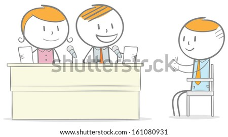 Doodle stick figure: Employee Candidate interviewed by a group of business person - stock vector