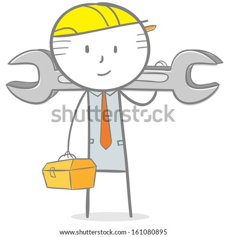Doodle stick figure: Engineer holding toolbox and wrench - stock vector