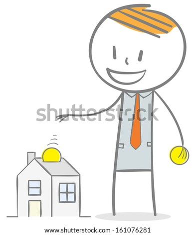 Doodle stick figure: Home investment concept. collecting money to a house. - stock vector