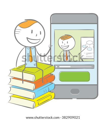 Doodle stick figure: Man sitting on a stack of book while having video chat with teacher on his phone - stock vector