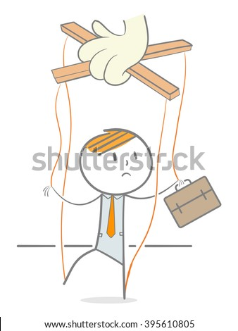 Doodle stick figure marionette on ropes controlled by puppeteer hand - stock vector