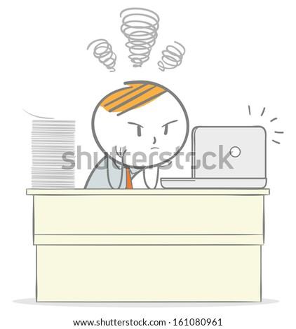 Doodle stick figure: Overworked businessman - stock vector