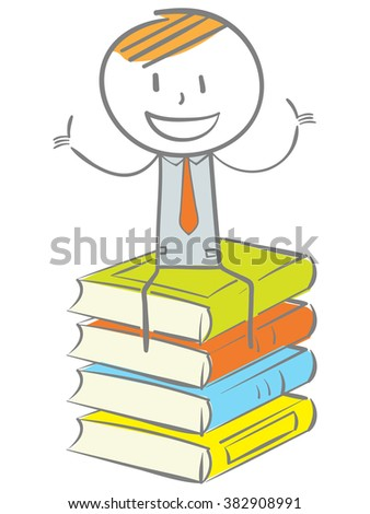 Doodle stick figure: Sitting on stack of book with thumbs up - stock vector