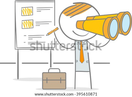 Doodle stick figure standing looking through a binocular and writing - stock vector