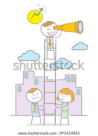 Doodle stick figure standing on a ladder looking through a binocular while the other holding the ladder - stock vector