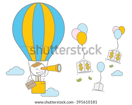Doodle stick figure standing on air balloon looking a dollar sign  through a binocular