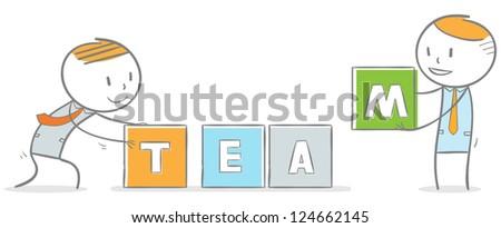 Doodle stick figure: Teamwork concept - stock vector