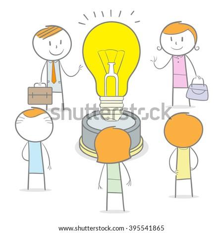 Doodle stick figure teamwork with a big idea - stock vector