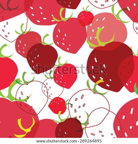 doodle strawberries transparent vector pattern - stock vector