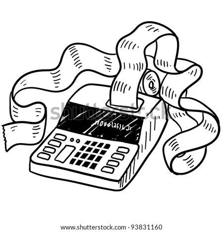 Doodle style adding machine or tax accounting sketch in vector format - stock vector