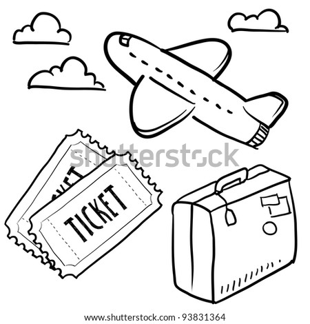 Doodle style air travel sketch in vector format.  Set includes plane, tickets, luggage, and clouds. - stock vector