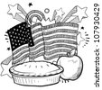 Doodle style American flag with apple pie and whole apple sketch in vector format - stock vector