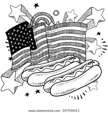 Doodle style American flag with hot dogs and condiments sketch in vector format - stock vector