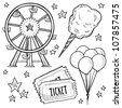 Doodle style amusement park or carnival equipment sketch in vector format. Includes cotton candy, ferris wheel, balloons, and ticket. - stock vector