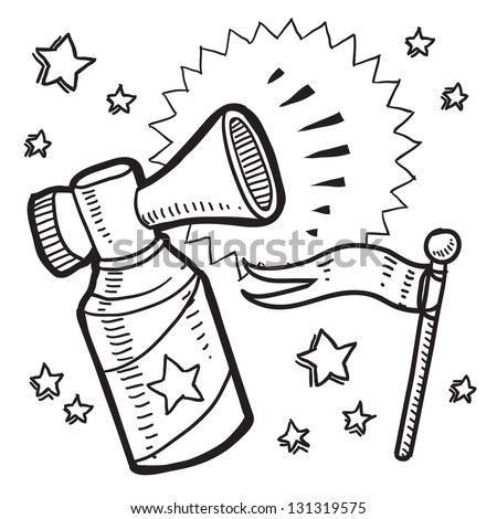 Doodle style announcement icon in vector format.  Sketch includes air horn, and flag.
