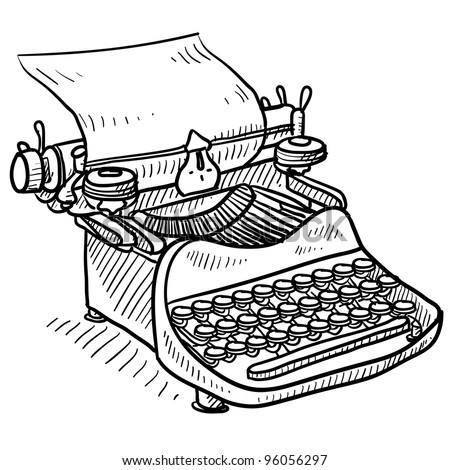Doodle style antique manual typewriter vector illustration