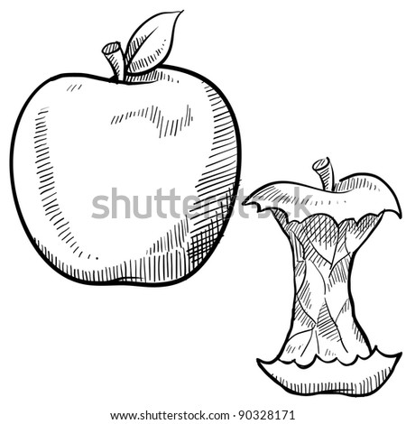 Doodle style apple and apple core vector illustration - stock vector