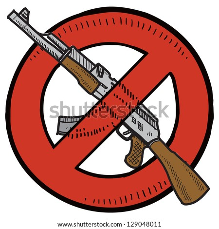 Doodle style Assault Weapons Ban, rifle, or gun control illustration in vector format. - stock vector