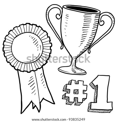 Doodle style awards sketch in vector format. Set includes trophy, ribbon, and 1st place graphic. - stock vector