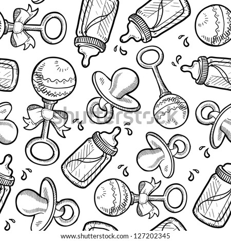 Doodle style baby and infant objects seamless vector background ready to be tiled. Includes rattle, pacifier, and bottle.