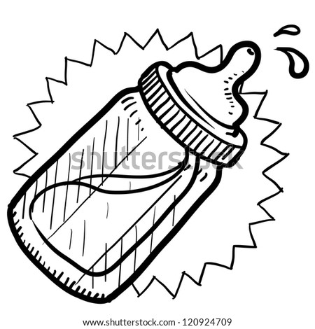 Doodle style baby bottle sketch with milk or formula in vector format. - stock vector