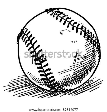 Doodle style baseball sports vector illustration