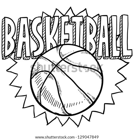 Doodle style basketball sports illustration in vector format.  Includes ball and title text. - stock vector