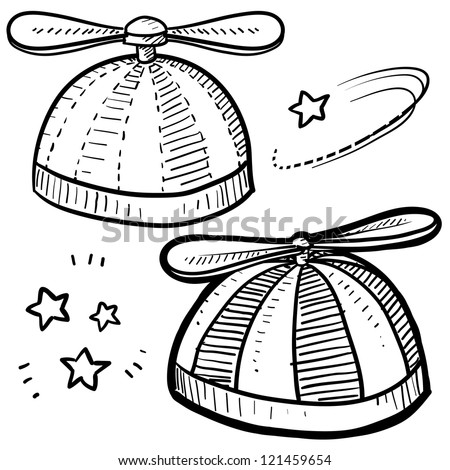 Doodle style beanie with propeller sketch in vector format.