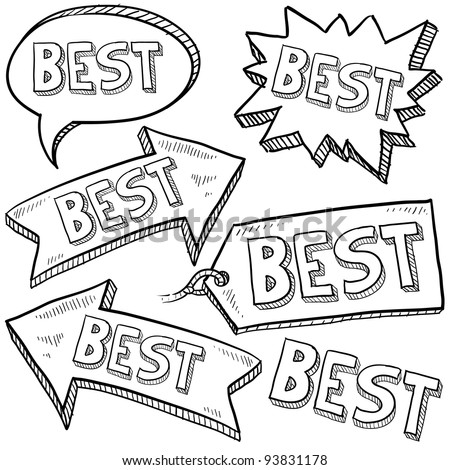 Doodle style best tags, labels, and arrows sketch in vector format - stock vector