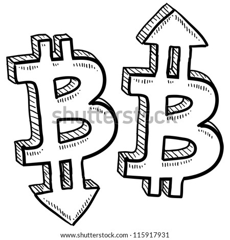 Doodle style Bitcoin digital currency symbol with arrows up and down to indicate inflation, deflation, evaluation, or devaluation as economic indicators. Vector format. - stock vector