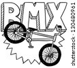 Doodle style BMX bike sports illustration.  Includes text and bicycle. - stock photo