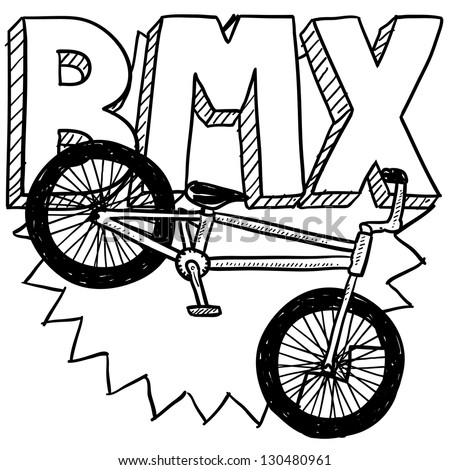 Doodle style BMX bike sports illustration.  Includes text and bicycle. - stock vector