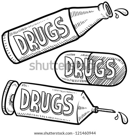 Doodle style bottle, syringe and pharmaceutical sketch with drugs text message on them.  Vector format.