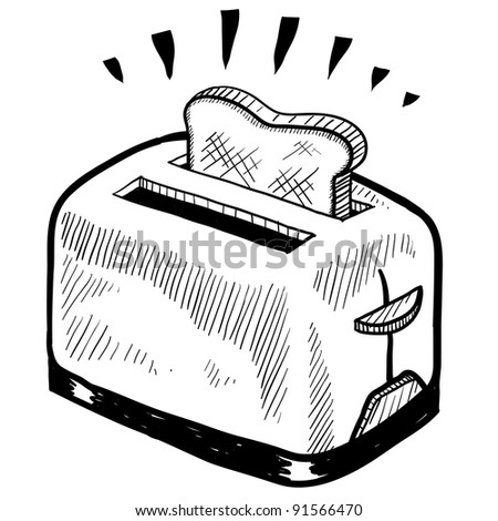 Doodle style breakfast toaster illustration in vector format. - stock vector