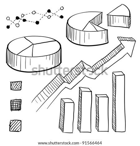 Doodle style charts, graphs, and plotting components illustration in vector format. Set includes parts for pie charts, bar graphs, line plots, and legends. - stock vector