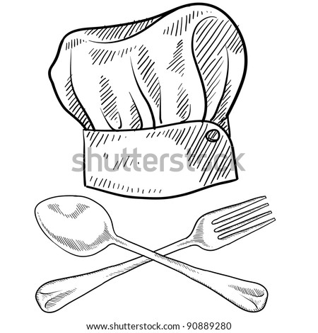 Doodle style chef hat with fork and spoon in vector format - stock vector