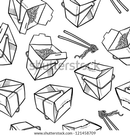 Doodle style Chinese food seamless vector background, including takeout boxes, chopsticks, and noodles. - stock vector